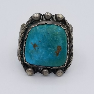 Title: Ring: Classic Vintage Navajo Silver and Turq , Date: c. 1960 , Size: 8 , Medium: Sterling Silver