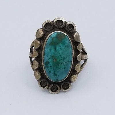 Title: Ring: Sweet Early Navajo Silver and Turquoise , Date: c 1920 , Size: 3 , Medium: Sterling Silver , Edition: Vintage