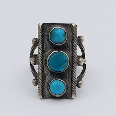 Title: Ring: Beautiful Navajo Ring with 3 stacked Turquoise Stones , Date: c 1940 , Size: 5 , Medium: Sterling Silver , Edition: Vintage