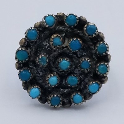 Title: Ring: Vintage Zuni Silver and Turquoise Round Cluster Ring , Date: c 1930 , Size: 6 1/2 , Medium: Sterling Silver , Edition: Vintage