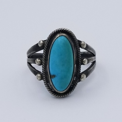Title: Ring: Classic Navajo Silver and Turqoise , Date: c 1950 , Size: 9 , Medium: Sterling Silver , Edition: Vintage