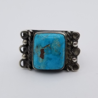 Title: Ring:  Beautiful Navajo Square Turquoise Stone and Silver , Date: c 1940 , Size: 7 , Medium: Sterling Silver , Edition: Vintage