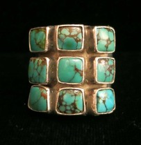 Title: Ring: Navajo 9 Square Turquoise Stone and Silver , Size: 5 1/2 , Medium: Sterling Silver , Edition: Vintage