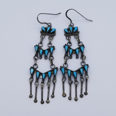 Title: Earrings:  Zuni 3 Tier Chandelier Turquoise and Silver , Medium: Sterling Silver , Edition: Vintage