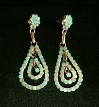 Title: Earrings:  Dishta Teardrop Silver and Turquoise , Medium: Sterling Silver , Edition: Vintage