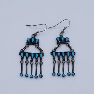 Title: Earrings:  Zuni Single Tier Silver and Turquoise Chandelier , Medium: Sterling Silver , Edition: Vintage