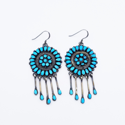 Title: Earrings:  Round Zuni Cluster with Silver and Turquoise Dangles , Medium: Sterling Silver , Edition: Vintage