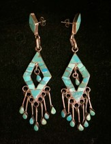 Title: Earrings:  Diamond Shaped Dishta Silver and Turquoise with Dangles , Medium: Sterling Silver , Edition: Vintage