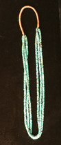 Title: Necklace: 3 Strand Turquoise Beaded w/ Squaw Wrap , Size: 15 inches length , Medium: Turquoise