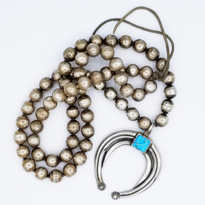Title: Necklace: Vintage Silver Beads w/ Beautiful Naja , Size: 19 inches length , Medium: Sterling Silver