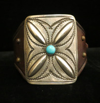 Title: Bracelet: Ketoh with Silver & Turq. Mounted on French Bridle Leather , Size: 2 1/4 x 1 3/4 inches , Medium: Sterling Silver , Edition: Vintage