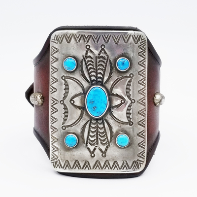 Title: Bracelet: Ketoh with Silver and Turqoise Mounted on French Bridle Leather , Size: 2 5/8 x 1 3/4 inches , Medium: Sterling Silver/Turquoise , Edition: Vintage