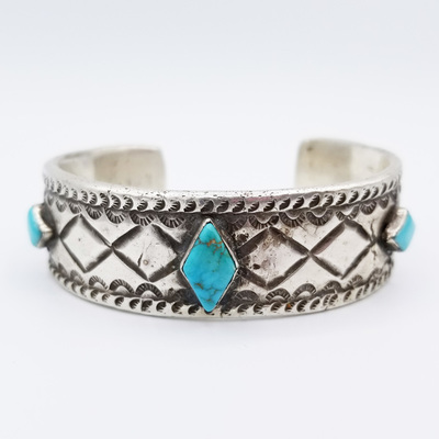 Title: Bracelet:  Beautiful Vintage Navajo Ingot Silver and Turquoise , Medium: Sterling Silver/Turquoise , Edition: Vintage