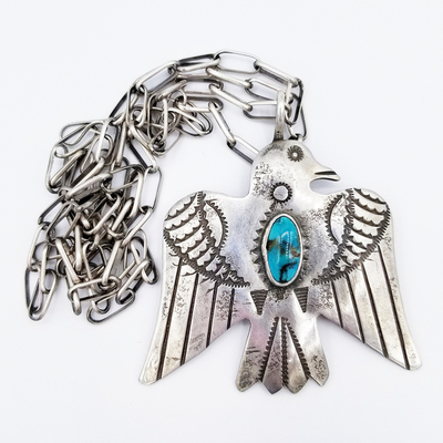 Title: Necklace:  Thunderbird Pendant on Handmade , Medium: Sterling Silver/Turquoise , Edition: Vintage