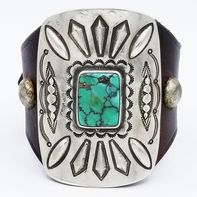 Title: Bracelet: Ketoh with Silver and Turquoise on French Bridle Leather , Medium: Sterling Silver/Turquoise , Edition: Vintage