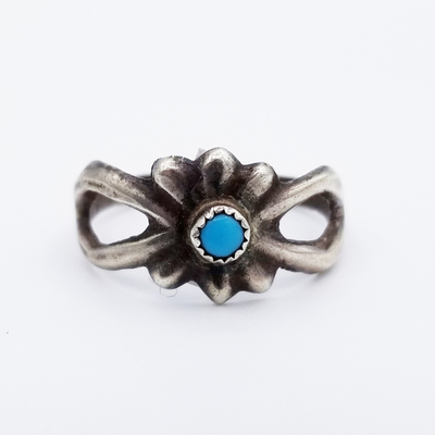 Title: Ring: Single Stone Navajo Sandcast Ring , Size: Size 8 , Edition: Vintage