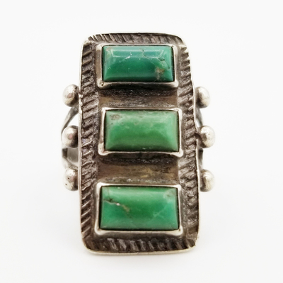 Title: Ring:  Vintage Navajo 3 Stacked Green Rectangular , Medium: Sterling Silver/Turquoise , Edition: Vintage