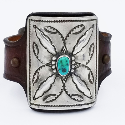 Title: Bracelet: Ketoh with Small Turqoise and Silver , Medium: Sterling Silver/Turquoise , Edition: Vintage