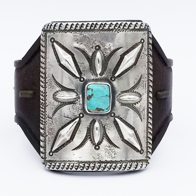 Title: Bracelet: Ketoh with Small Silver and Turquoise , Medium: Sterling Silver/Turquoise , Edition: Vintage