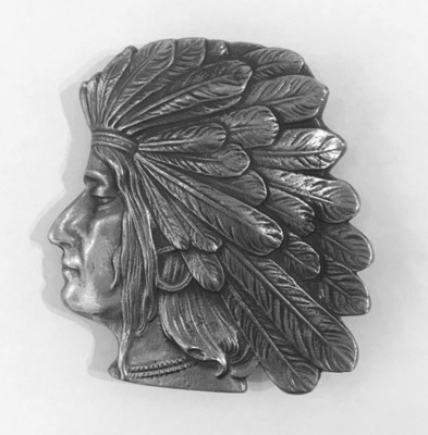 Title: Buckle: Native American Portrait , Date: c. 1950 , Size: 4 x 4 inches , Medium: Pewter , Signed: Signed