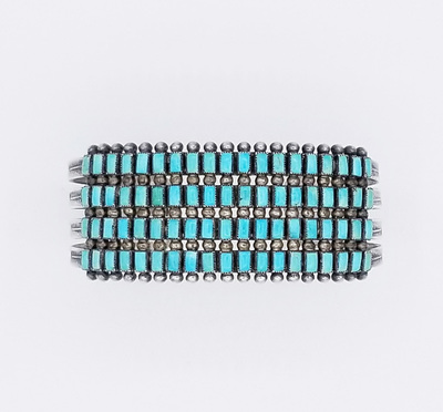 Title: Bracelet: Zuni 40 Square Stones and Silver , Date: c. 1930 , Medium: Sterling Silver/Turquoise , Edition: Vintage