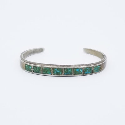 Title: Bracelet: Channel Inlay Bangle , Medium: Sterling Silver/Turquoise , Edition: Vintage