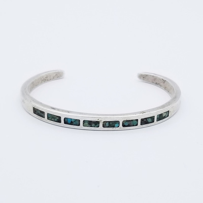 Title: Bracelet: Turquoise and Silver Channel Inlay , Medium: Sterling Silver/Turquoise , Edition: Vintage