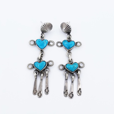 Title: Earrings: Heart Shaped Turquoise and Silver , Medium: Sterling Silver/Turquoise , Edition: Vintage