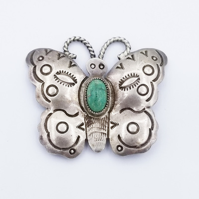 Title: Pin: Navajo Butterfly , Medium: Sterling Silver , Edition: Vintage
