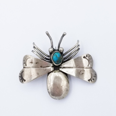 Title: Pin: Navajo Beetle , Medium: Sterling Silver/Turquoise , Edition: Vintage