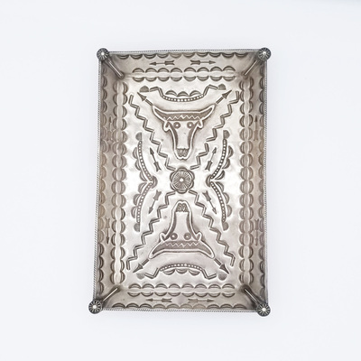 Title: Stamped Silver Tray , Size: 3 3/4 x 6 inches , Medium: Sterling Silver , Edition: Vintage