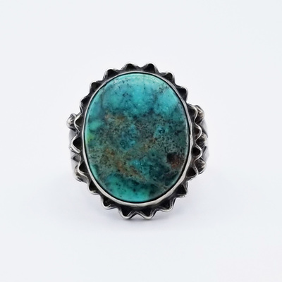 Title: Ring: Navajo Silver and Turquoise , Size: 9 , Medium: Sterling Silver/Turquoise , Edition: Vintage