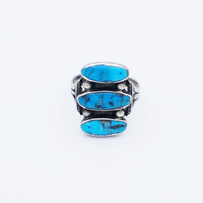 Title: Ring: Navajo 3 Stone Silver and Turquoise , Size: 8 3/4 , Medium: Sterling Silver/Turquoise , Edition: Vintage