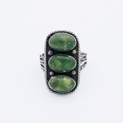Title: Ring: Navajo 3 Stacked Turqoise Stones , Size: 6 3/4 , Medium: Sterling Silver/Turquoise , Edition: Vintage
