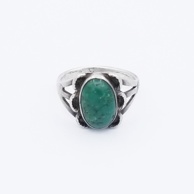 Title: Ring: Navajo Silver and Turqoise , Size: 8 , Medium: Sterling Silver/Turquoise