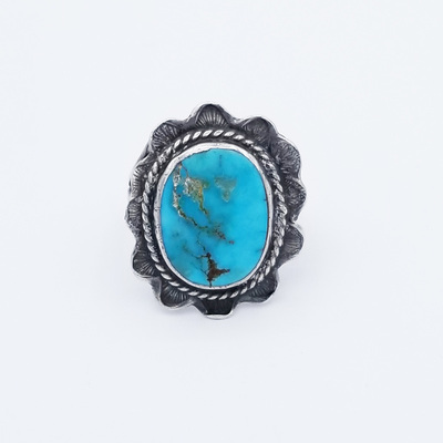 Title: Ring: Navajo Silver and Turqoise , Size: 6 3/4 , Medium: Sterling Silver/Turquoise , Edition: Vintage
