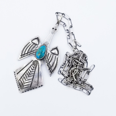 Title: Necklace: Peyote Bird Pendant , Size: 28 inches , Medium: Sterling Silver/Turquoise , Edition: Vintage