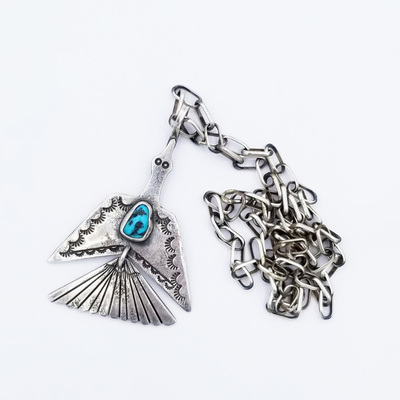 Title: Necklace: Two Piece Peyote Bird , Size: 24 inches , Medium: Sterling Silver/Turquoise , Edition: Vintage