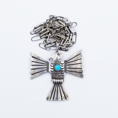 Title: Necklace: Large Thunderbird Pendant , Size: 24 inches , Medium: Sterling Silver/Turquoise , Edition: Vintage