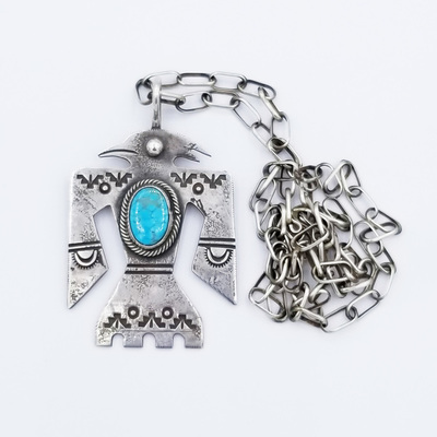 Title: Necklace: Silver and Turqoise Thunderbird Pendant , Size: 24 inches , Medium: Sterling Silver/Turquoise , Edition: Vintage