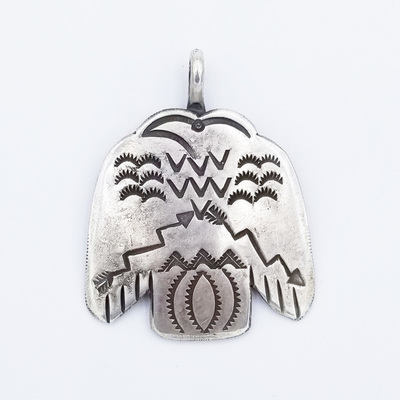 Title: Pendant: All Silver Thunderbird , Medium: Sterling Silver/Turquoise , Edition: Vintage