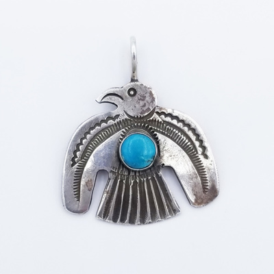 Title: Pendant: Silver and Turqoise Thunderbird , Medium: Sterling Silver/Turquoise , Edition: Vintage