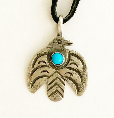 Title: Pendant: Silver & Turquoise Thunderbird , Size: 1.5 Inches , Medium: Sterling Silver/Turquoise