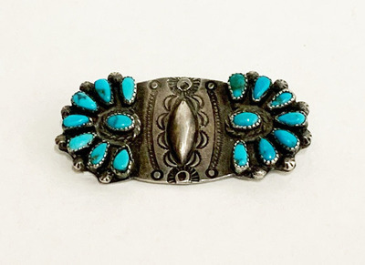 Title: Pin: Vintage Zuni Silver & Turquoise , Size: 2.7/8 x 7/8 inches , Medium: Sterling Silver/Turquoise
