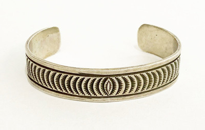 Title: Bracelet:  Beautifully Stamped Vintage Navajo Silver , Size: 2.5 Inches , Medium: Sterling Silver