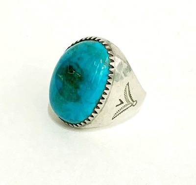 Title: Ring:  Large Oval Blue Turquoise Size 8.5 , Size: Ring size 8.5 , Medium: Sterling Silver/Turquoise