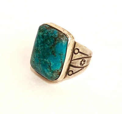 Title: Ring:  Vintage Rectangular Turquoise & Siver w/Nice Stamping.  Size 7.25 , Size: Ring size 7.25 , Medium: Sterling Silver/Turquoise