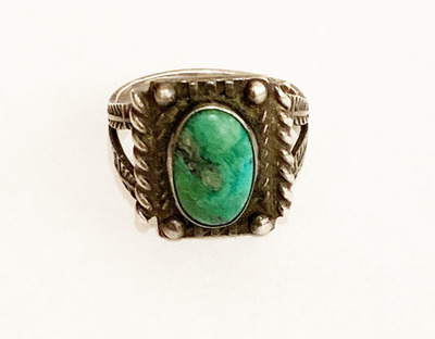 Title: Ring:  Early Green Turquoise & Silver w/Stamped Band Size 7 , Size: Ring size 7 , Medium: Sterling Silver/Turquoise