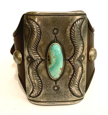 Title: Bracelet: Large Silver & Turquoise Ketoh, Distressed French Bridle Leather w/ Vintage Horse Tack St , Size: 3 x 2.25 inches , Medium: Sterling Silver/Turquoise