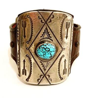 Title: Bracelet: Small Silver & Turquoise Kethoh w/Spiderweb Stone. Arrow Stamp on French Bridle Leather , Size: 2 3/8 x 2 inches , Medium: Sterling Silver/Turquoise